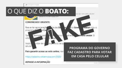 É #FAKE mensagem com link de cadastro para votar em casa pelo celular
