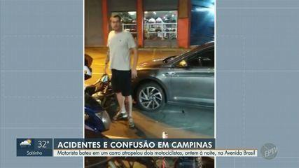 Confusão entre motorista e motoboys termina com duas pessoas atropeladas, em Campinas