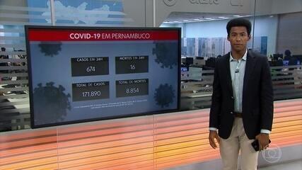 Pernambuco confirma mais 674 casos de infecção pelo coronavírus e 16 mortes por Covid-19