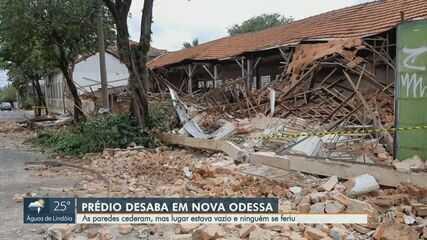 Telhado de antiga tecelagem de Nova Odessa desaba na madrugada desta quarta-feira