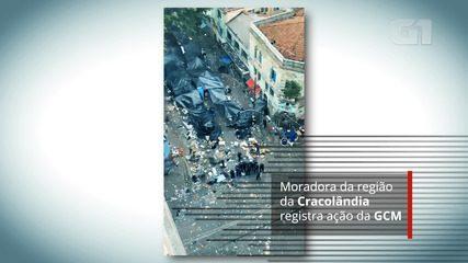 Moradora da região da Cracolândia registra ação da GCM