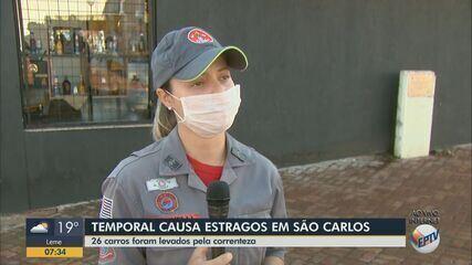 Corpo de Bombeiros resgata mais de 100 pessoas ilhadas após chuva em São Carlos