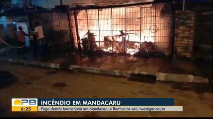 Incêndio destrói borracharia no bairro de Mandacaru, em João Pessoa