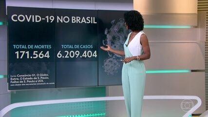 Brasil passa de 171,5 mil mortes por Covid, com média móvel de 479