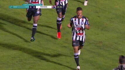 Gol do Operário-PR! Escanteio cobrado pela esquerda, Ricardo Bueno sobe sozinho na área e manda no canto do goleiro, aos 18 do 2ºT