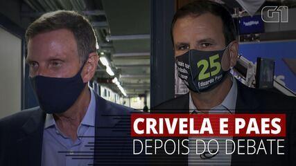 Marcelo Crivella (Republicanos) e Eduardo Paes (DEM) dão entrevista após debate na Globo