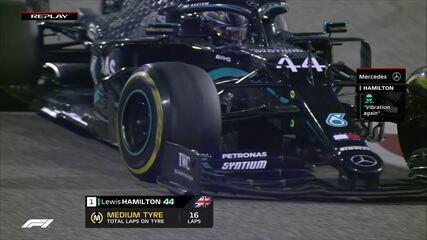 Imagem mostra pneus de Hamilton em mau estado no GP do Bahrein