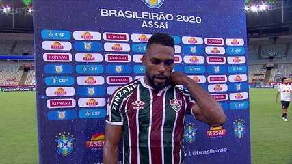 """Luccas Claro fala sobre empate morno do Fluminense com o Bragantino: """"Jogo foi muito travado"""""""