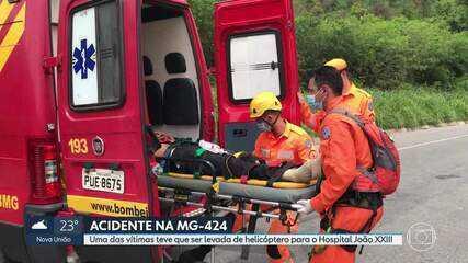 Dois homens ficam feridos em acidente na MG-424, em Pedro Leopoldo