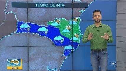 Confira a previsão do tempo em SC desta quinta-feira