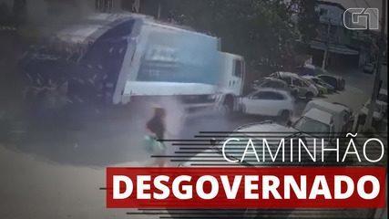 VÍDEO: Mulher escapa de ser atropelada por caminhão desgovernado em Duque de Caxias