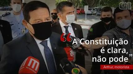 VÍDEO: Mourão fala sobre a possibilidade de reeleição para a presidência da Câmara e do Senado