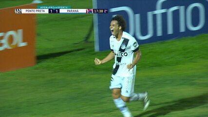 Os gols de Ponte Preta 2 x 1 Paraná, pela 26ª rodada do Brasileirão Série B