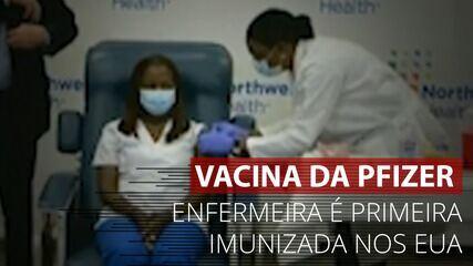 VÍDEO: Enfermeira é a primeira imunizada com vacina contra Covid da Pfizer-BioNTech nos EUA