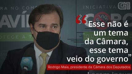 VÍDEO: 'Esse não é um tema da Câmara', diz Maia sobre inclusão de termo de responsabilidade em MP