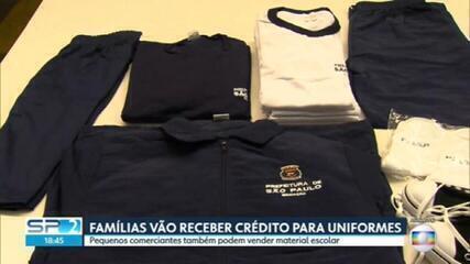 Famílias vão receber crédito para uniformes escolares