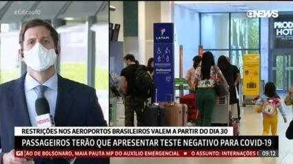 Passageiros terão que apresentar teste negativo para Covid-19 em aeroportos brasileiros
