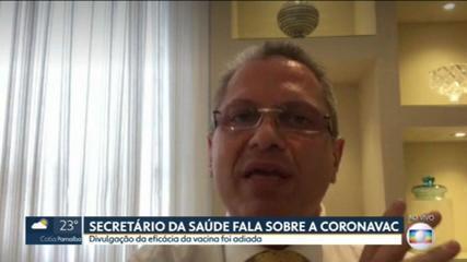 Secretário estadual de saúde fala sobre adiamento da divulgação da eficácia da Coronavac