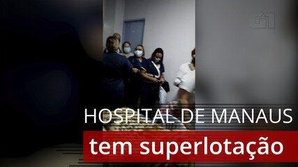 Vídeo gravado no Hospital 28 de Agosto mostra superlotação na manhã deste domingo (3)
