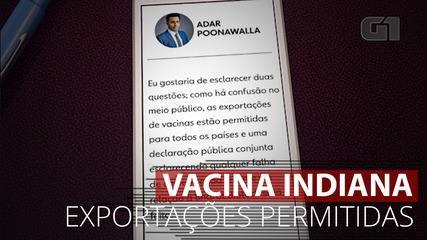VÍDEO: Exportações de vacinas estão permitidas, diz representante de laboratório indiano
