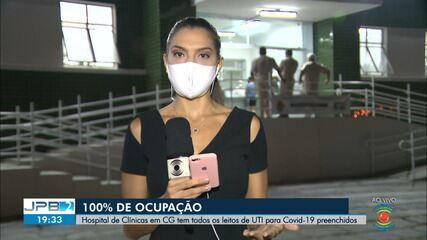 Hospital das Clínicas tem 100% de ocupação de leitos de UTI, em Campina Grande