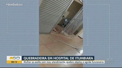 Mulher é presa suspeita de quebrar objetos e agredir funcionários de hospital em Itumbiara
