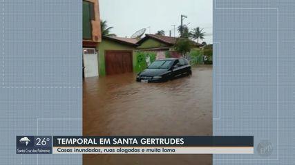 Santa Gertrudes registra 100 milímetros de chuva em 24 horas