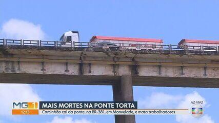 Caminhão com 4 pessoas cai de ponte em João Monlevade e fica submerso no rio