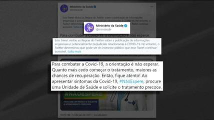 Twitter inclui alerta em postagem do Ministério da Saúde; Ana Flor comenta