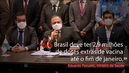 VÍDEO: Brasil deve ter 2,9 milhões de doses extras de vacina até o fim de janeiro, diz Pazuello