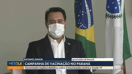 Governador diz que em 48 horas todos os municípios do Paraná estarão vacinando