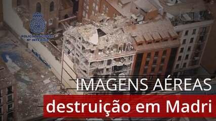 VÍDEO: imagens aéreas mostram local da explosão de prédio em Madri