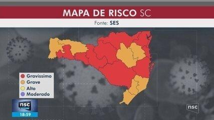 Mapa de risco da Covid-19: SC tem 9 regiões em nível gravíssimo e 7 em grave