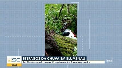 Blumenau registra deslizamentos por causa da chuva