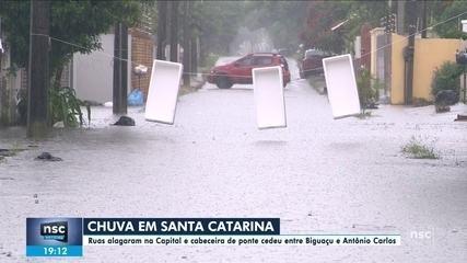 Ruas alagam na capital e cabeceira de ponte cede entre Biguaçu e Antônio Carlos
