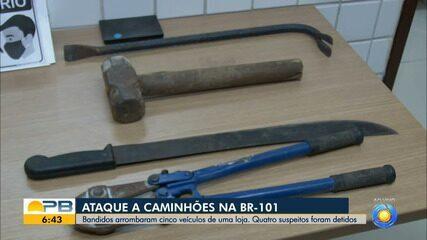 Bandidos arrombam cinco caminhões de uma loja, na BR-101, em João Pessoa