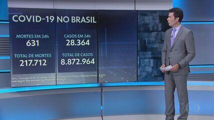Média móvel de mortes por Covid no Brasil chega a 1.055, a maior desde 4 de agosto