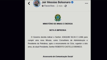 Bolsonaro anuncia troca de presidente da Petrobras