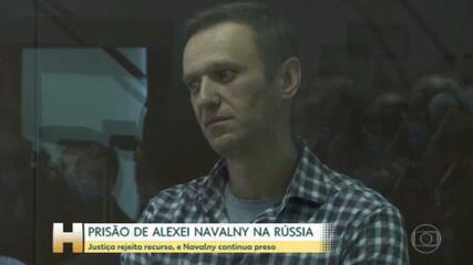 Justiça russa rejeita recurso contra a prisão de Alexei Navalny