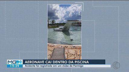 Em Formiga, monomotor cai em piscina de resort e deixa três pessoas feridas