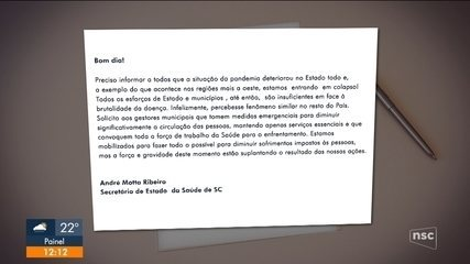 Secretário de Saúde de SC orienta prefeitos a adotarem restrições de circulação