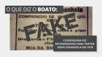É #FAKE que cloroquina foi recomendada em 1918 como tratamento contra a gripe espanhola