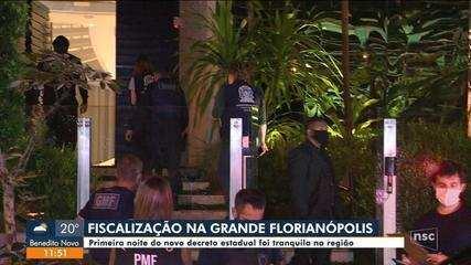 Primeira noite do novo decreto estadual foi tranquila na Grande Florianópolis