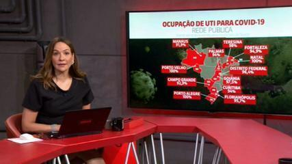 Coronavírus: ocupação de UTI para Covid supera 90% em 11 capitais e no Distrito Federal