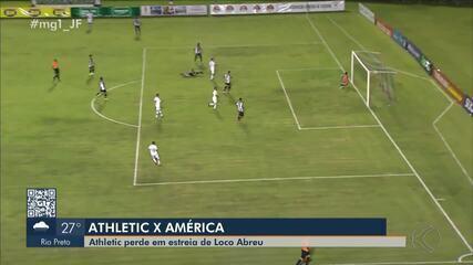 Na estreia de Loco Abreu, o Atlético foi derrotado pelo América-MG em Juiz de Fora