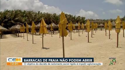 Barracas da praia do Futuro fechadas diante do lockdown