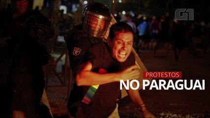 Manifestantes protestam contra gestão da pandemia no Paraguai