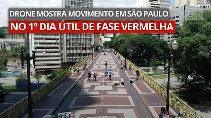 Drone mostra movimento em São Paulo no 1º dia útil de fase vermelha