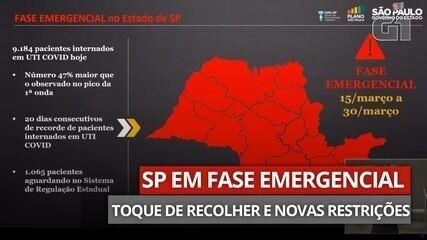 VÍDEO: Governo de SP anuncia novas medidas de restrição para combater transmissão da Covid