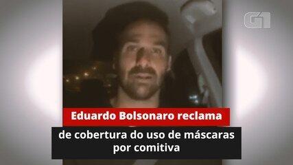 Eduardo Bolsonaro reclama da imprensa sobre cobertura do uso de máscaras por comitiva